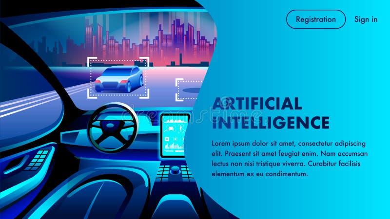 De Cockpitlandingspagina van de kunstmatige intelligentieauto stock illustratie