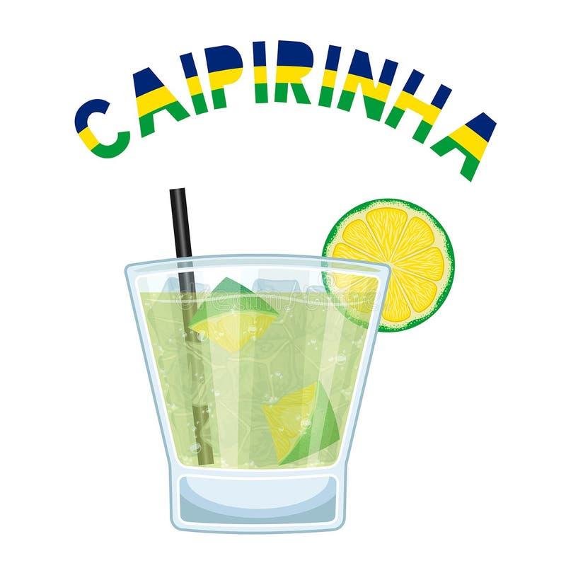 De Cocktail Caipirinha van Brazilië met Zwart het Drinken Stro royalty-vrije illustratie