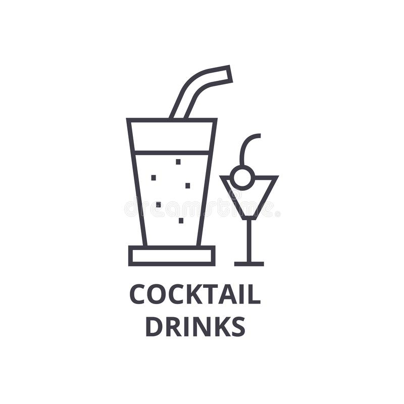 De cocktail drinkt lijnpictogram, overzichtsteken, lineair symbool, vector, vlakke illustratie stock illustratie