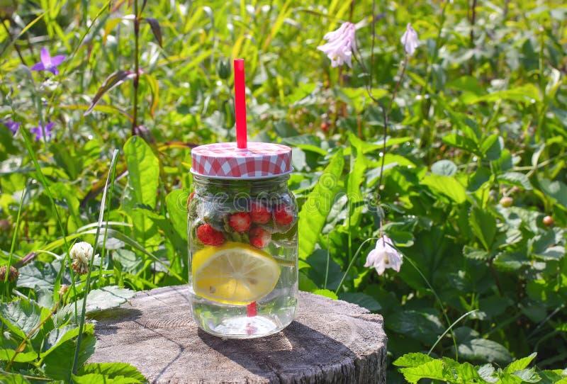 De cocktail van aardbeimojito met aardbei, citroen en verse munt een glaskruik met een cocktailstro royalty-vrije stock afbeeldingen