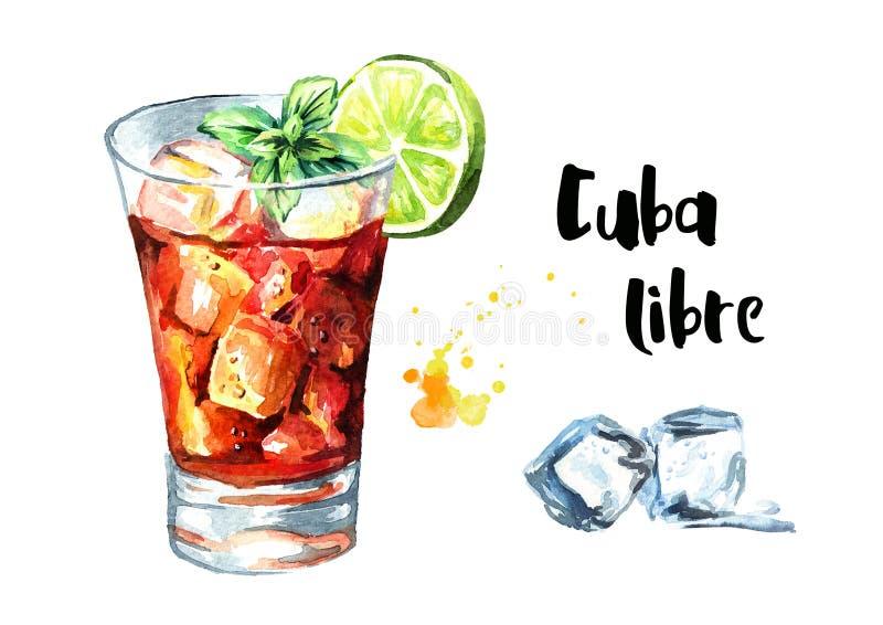 De cocktail van Cuba Libre met kalk en munt Waterverfhand getrokken die illustratie, op witte achtergrond wordt geïsoleerd royalty-vrije illustratie