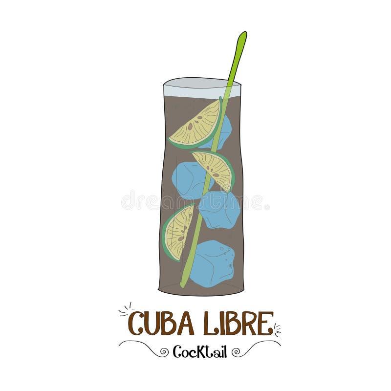 De cocktail van Cuba Libre voor een klantenillustratie voor barzaken royalty-vrije illustratie