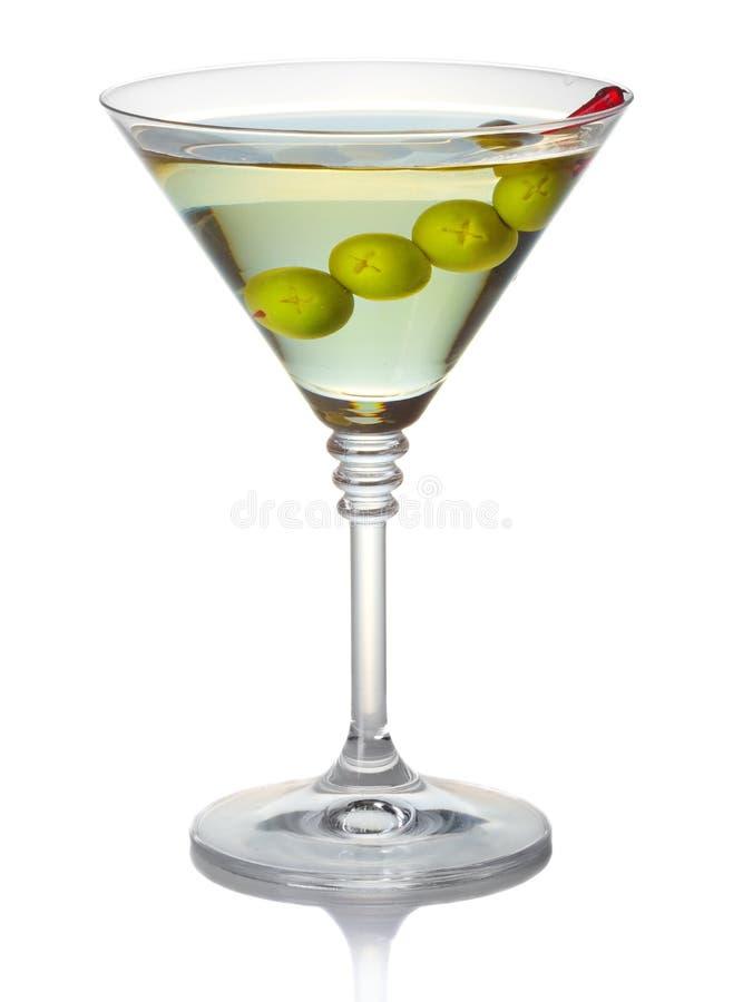 De cocktail van olijfmartini op wit wordt geïsoleerd dat royalty-vrije stock afbeeldingen