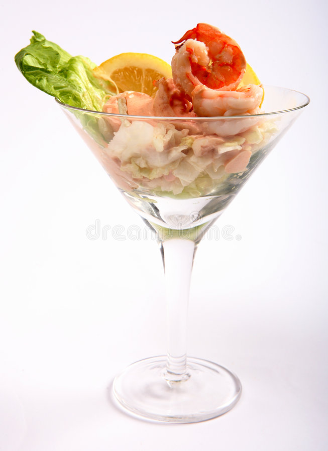 De cocktail zijaanzicht van de garnaal stock foto