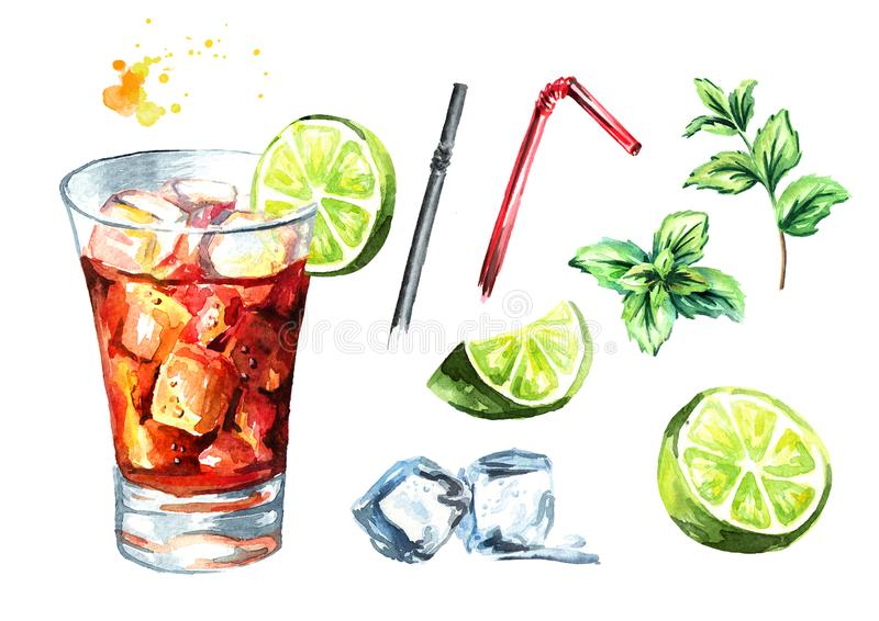 De Cocktailreeks van Cuba Libre Waterverfhand getrokken die illustratie, op witte achtergrond wordt geïsoleerd stock illustratie