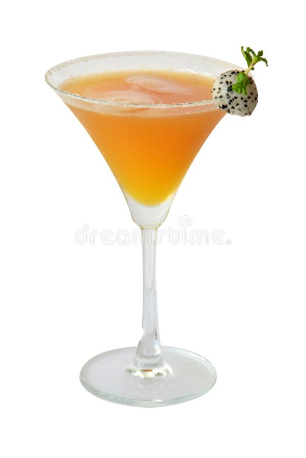 De cocktails en de alcohol van mangorita op witte achtergrond stock foto's