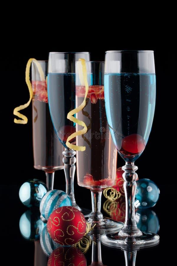 De Cocktails van Champagne van het blauw en van de Granaatappel royalty-vrije stock foto