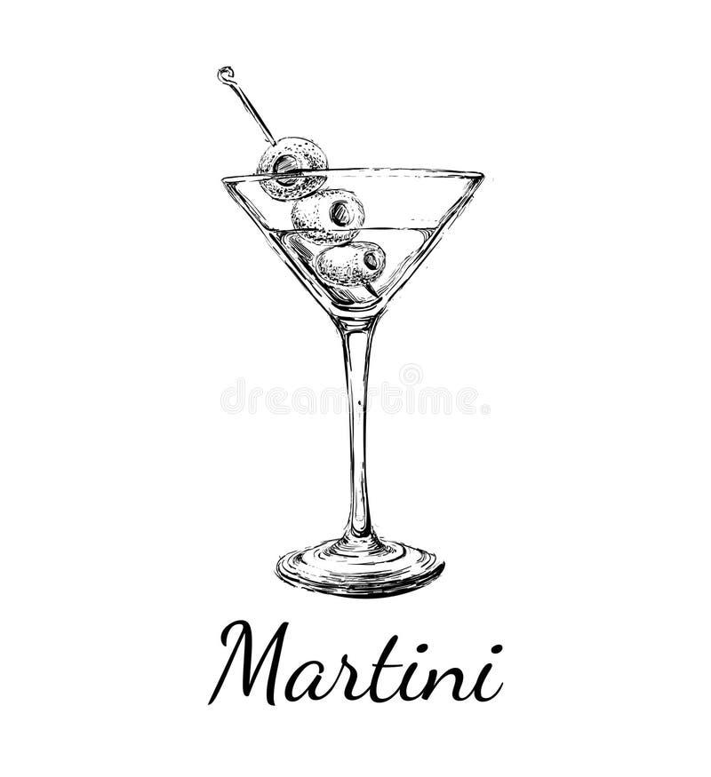 De Cocktails van schetsmartini met Olijven Vectorhand Getrokken Illustratie stock afbeeldingen