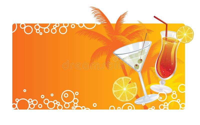 De cocktailsbanner van de zomer royalty-vrije illustratie