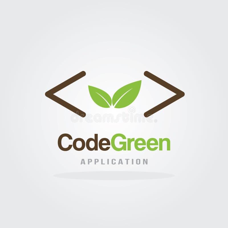 De Codage Logo Design Template van de aardecologie met het groene concept van het blad organische ontwerp De Vectorillustratie va royalty-vrije illustratie