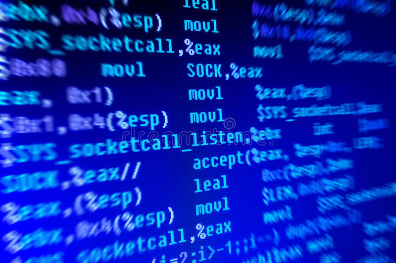 De code van de assemblage programmeertaal stock foto
