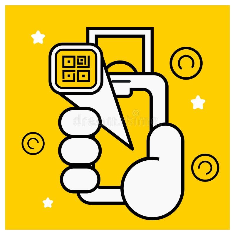 De code van het de telefoonaftasten van de handholding qr, online betaling royalty-vrije illustratie
