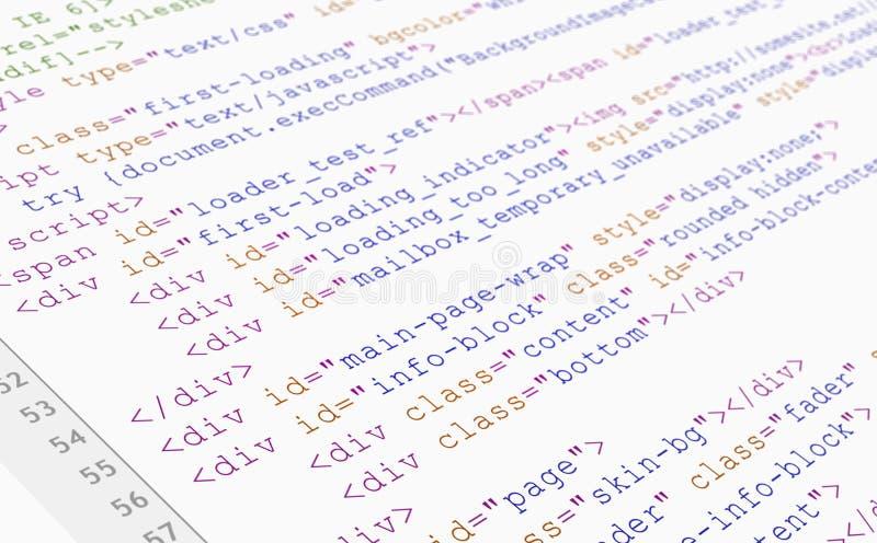 De codebrowser van de website HTML mening over witte achtergrond royalty-vrije stock fotografie