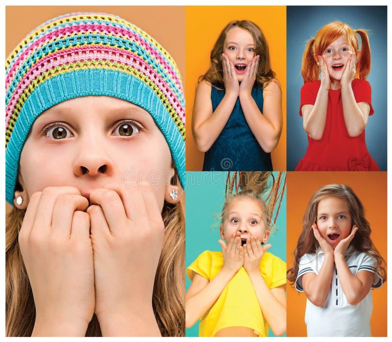 De collage met verraste tienermeisjes royalty-vrije stock foto