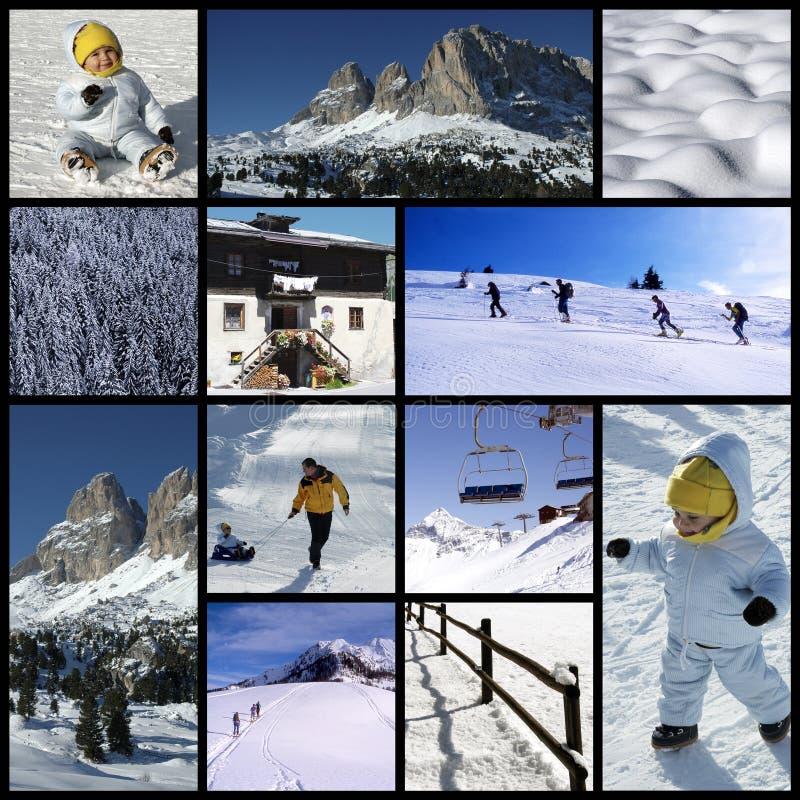De collage van alpen stock afbeeldingen