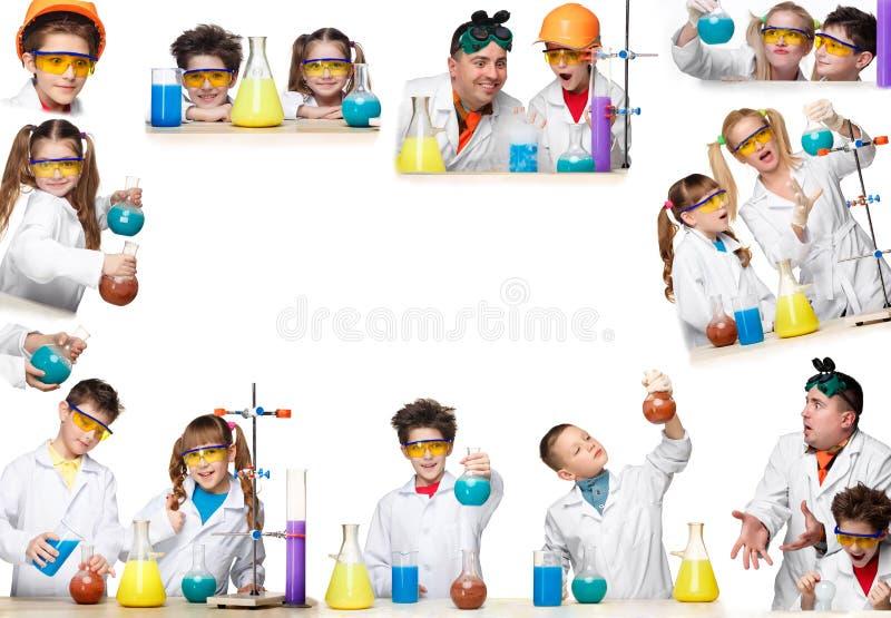 De collage van beelden van jongens en meisjes als chemicus die experiment doen royalty-vrije stock afbeeldingen
