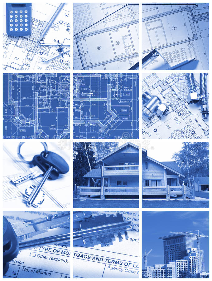 De collage van de architectuur stock afbeelding