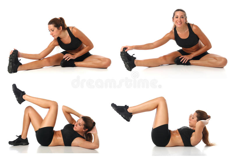De collage van de geschiktheid Jonge vrouw die oefening doen stock afbeelding