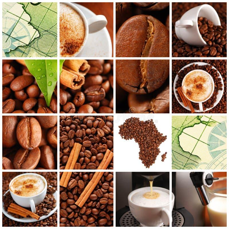De collage van de koffie royalty-vrije stock afbeeldingen