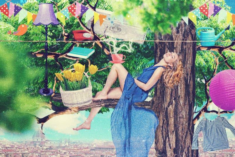 De collage van de kunst met mooie vrouw royalty-vrije stock afbeelding