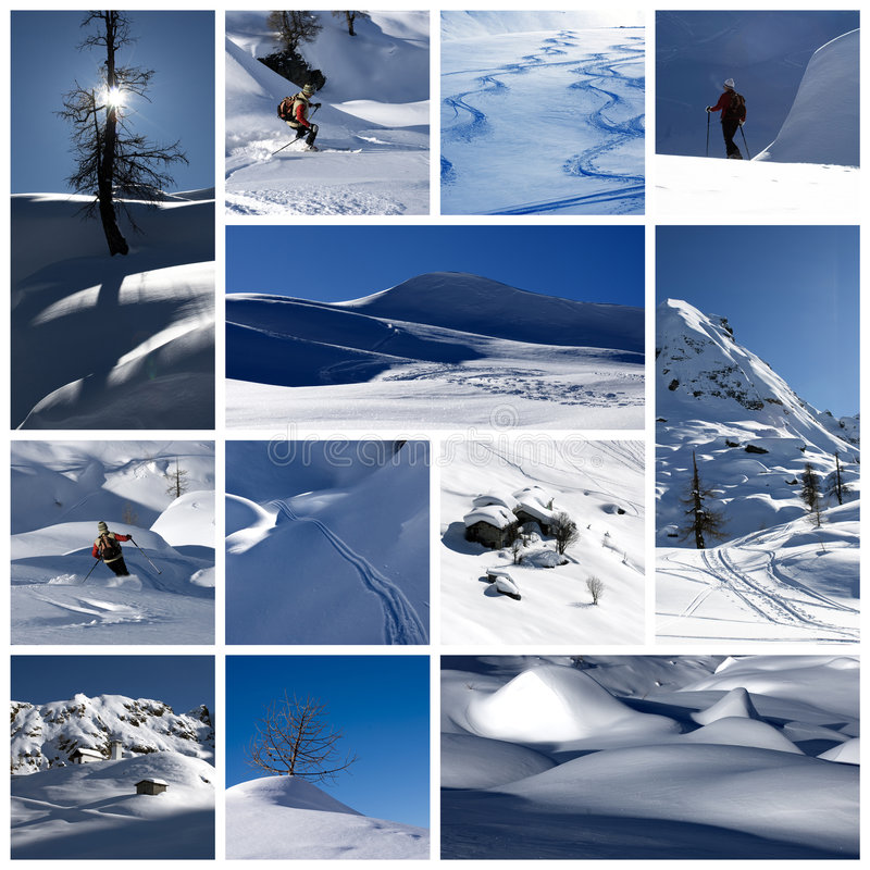 De collage van de winter stock fotografie