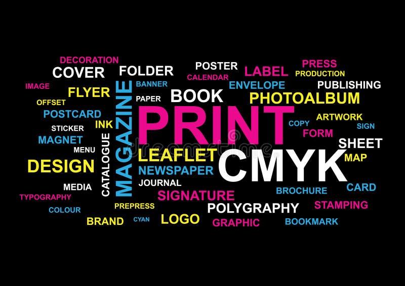 De Collage van drukwoorden vector illustratie