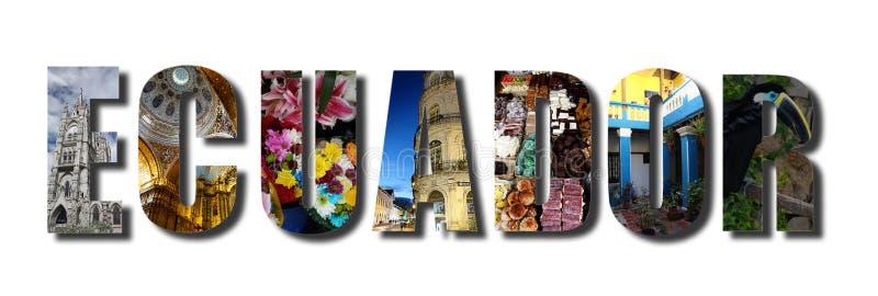 De collage van Ecuador op wit royalty-vrije illustratie