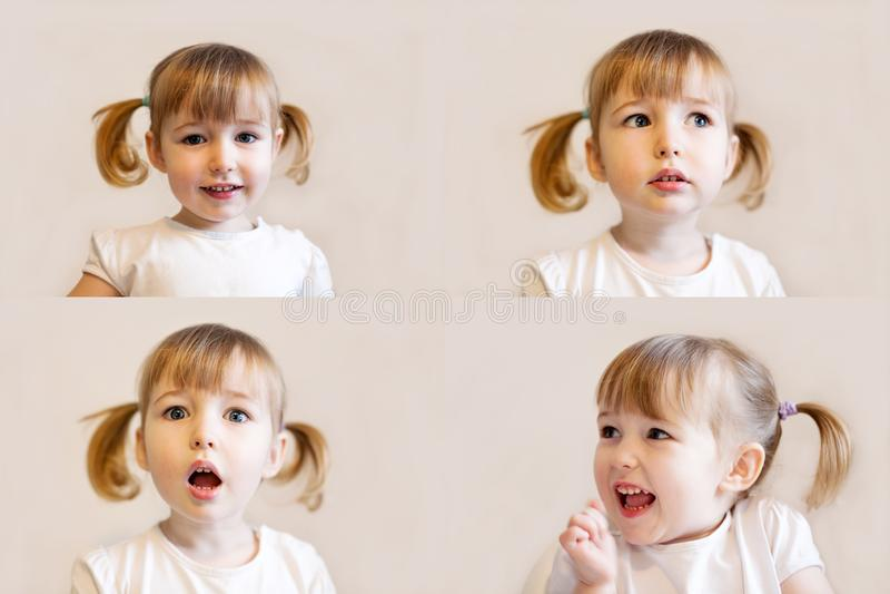 De collage van foto's met sluw jong geitjemeisje met de close-up van het vlechtenhaar ziet emotionele portretten onder ogen stock foto