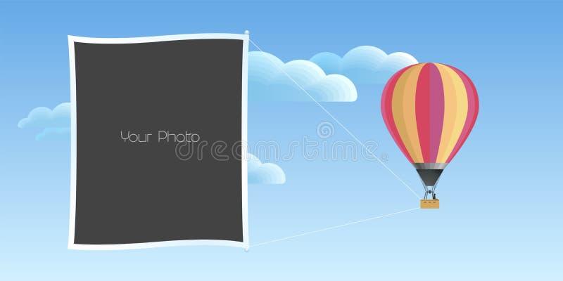 De collage van fotokaders met van de pretreis vectorillustratie als achtergrond stock illustratie
