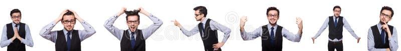 De collage van grappige zakenman op wit stock afbeeldingen