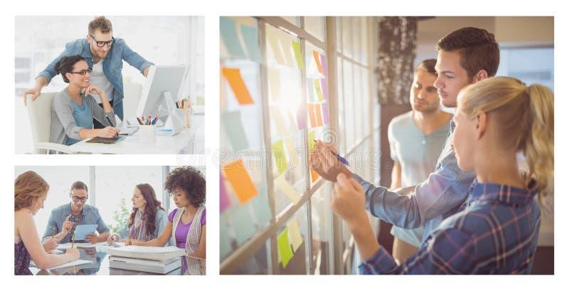 De collage van de groepswerkvergadering stock afbeeldingen