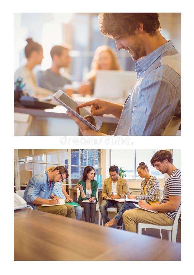 De collage van de groepswerkvergadering royalty-vrije stock afbeelding