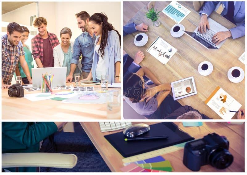 De collage van de groepswerkvergadering royalty-vrije stock fotografie