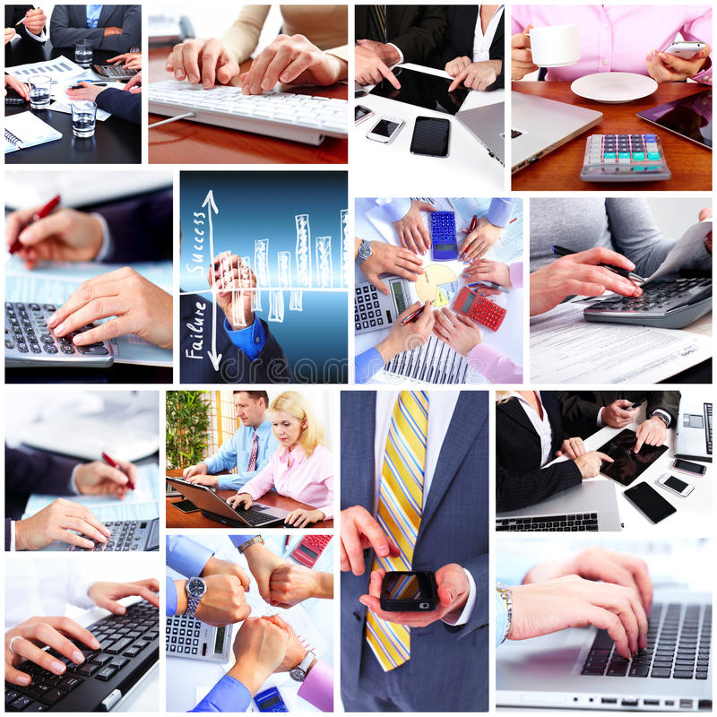 De collage van het bedrijfsmensenteam. stock afbeelding