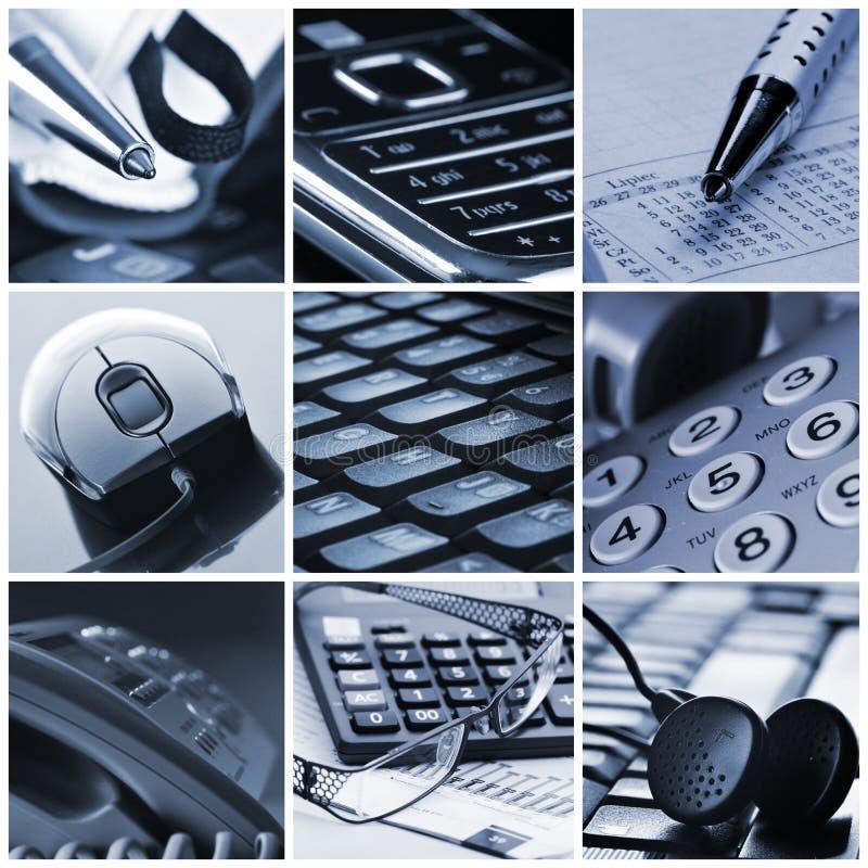 De collage van het bureau stock foto's