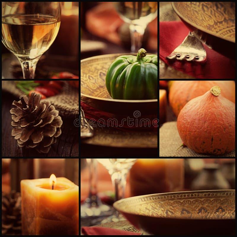De collage van het de herfstdiner stock afbeelding