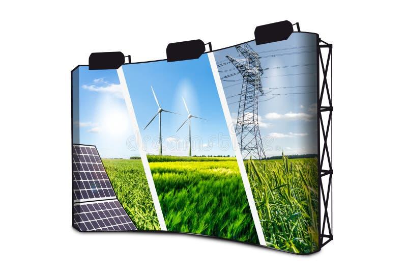 De Collage van het duurzame energieënconcept met Zonnepaneel, Wind Mills And Electrical Energy Infrastucture op Bannervertoning m royalty-vrije stock fotografie
