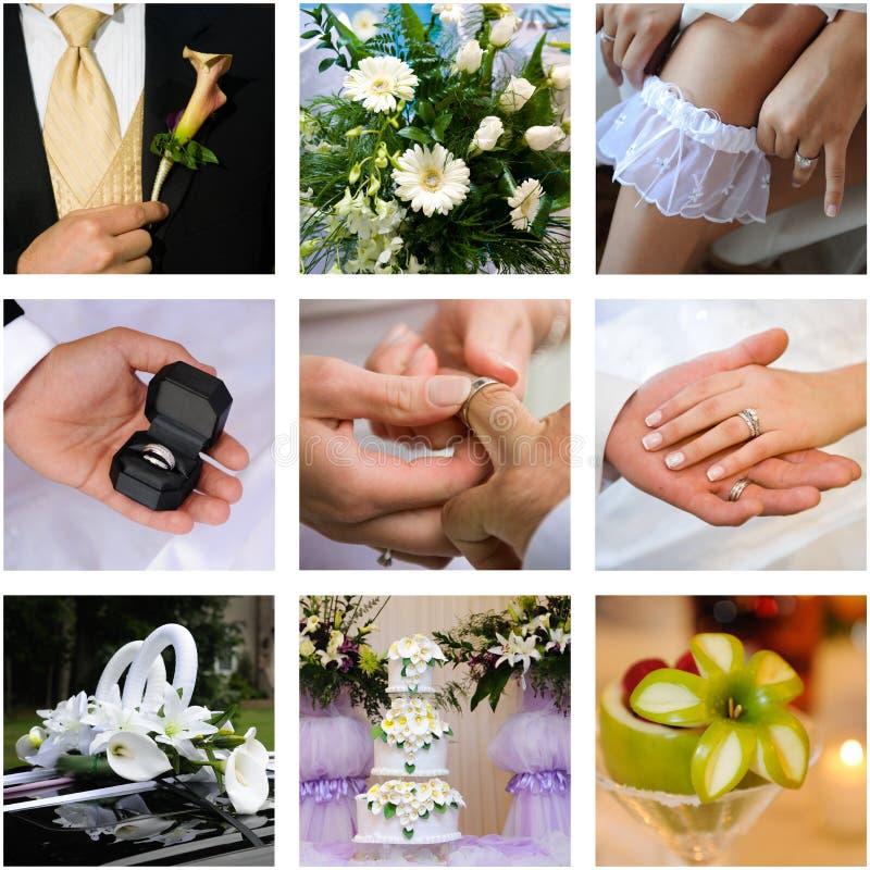De collage van het huwelijk stock foto's