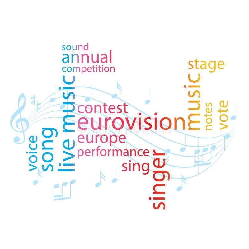 De collage van het kleurenwoord - Eurovisie-liedwedstrijd - vector royalty-vrije illustratie