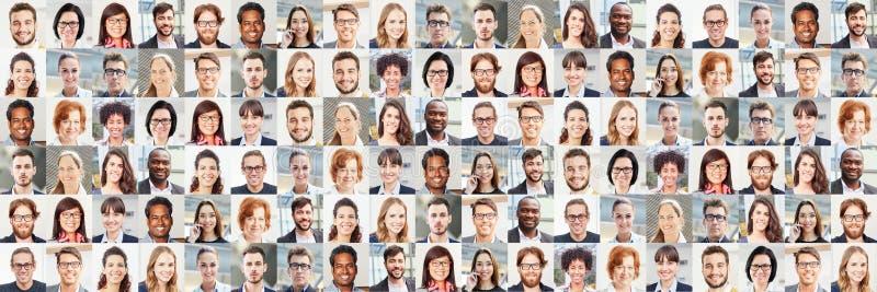 De collage van het panoramaportret van bedrijfsmensen stock foto