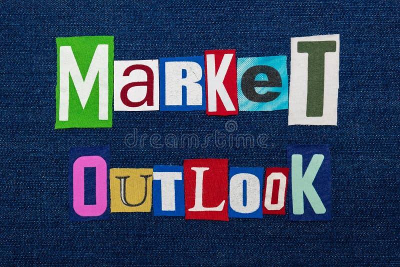 De collage van het de tekstwoord van MARKToutlook, multi gekleurde stof op blauw denim, het toekomstige concept van de marktricht royalty-vrije stock foto's