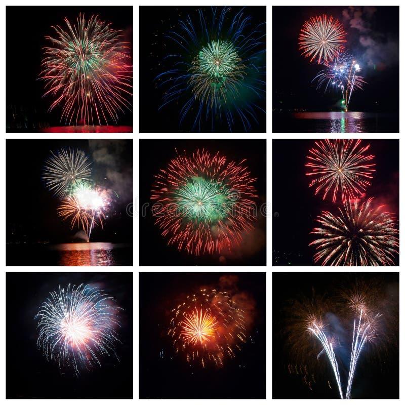 De collage van het vuurwerk royalty-vrije illustratie