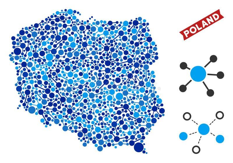 De Collage van de Kaartverbindingen van Polen vector illustratie