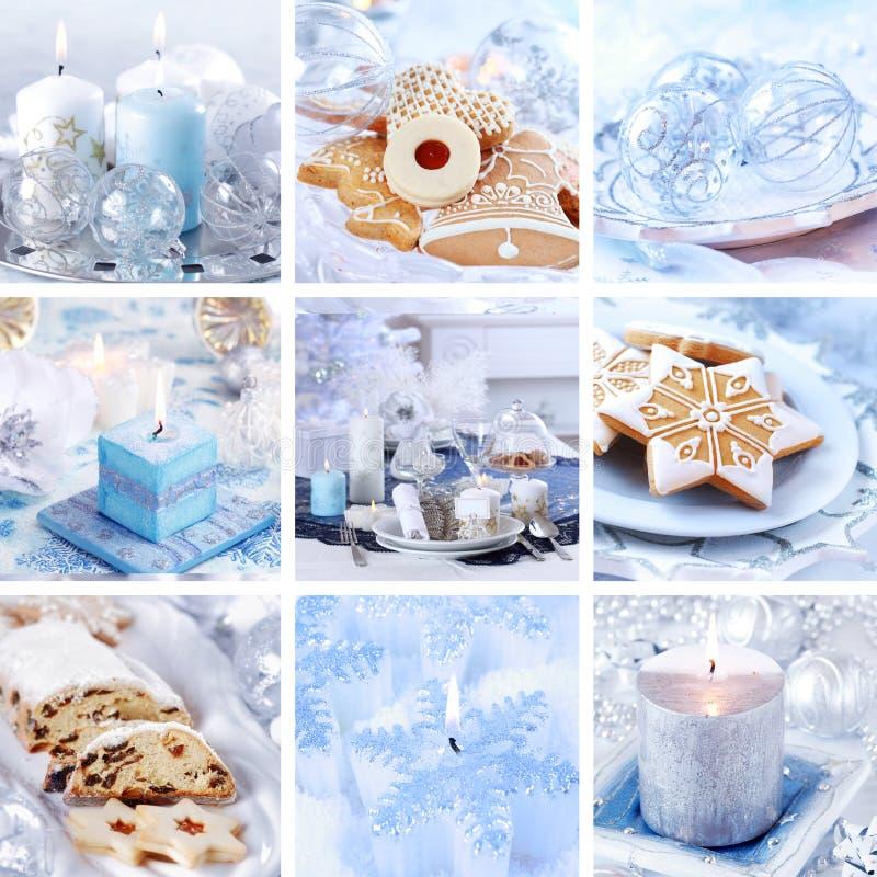De collage van Kerstmis in wit royalty-vrije stock foto's