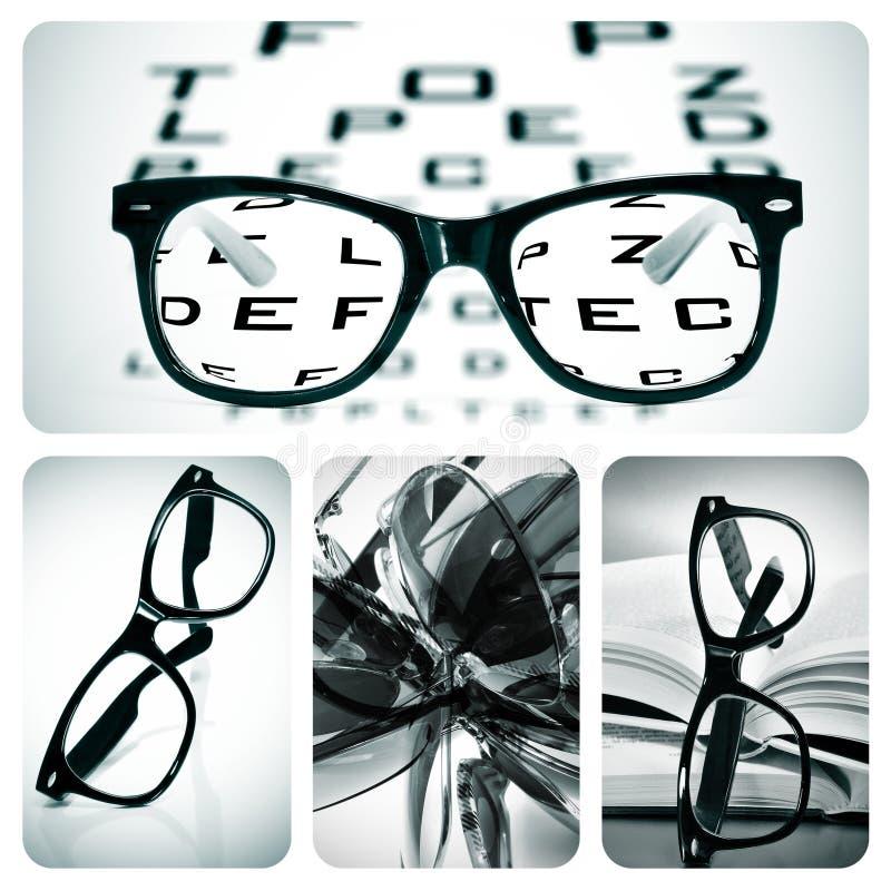 De collage van oogglazen stock foto's