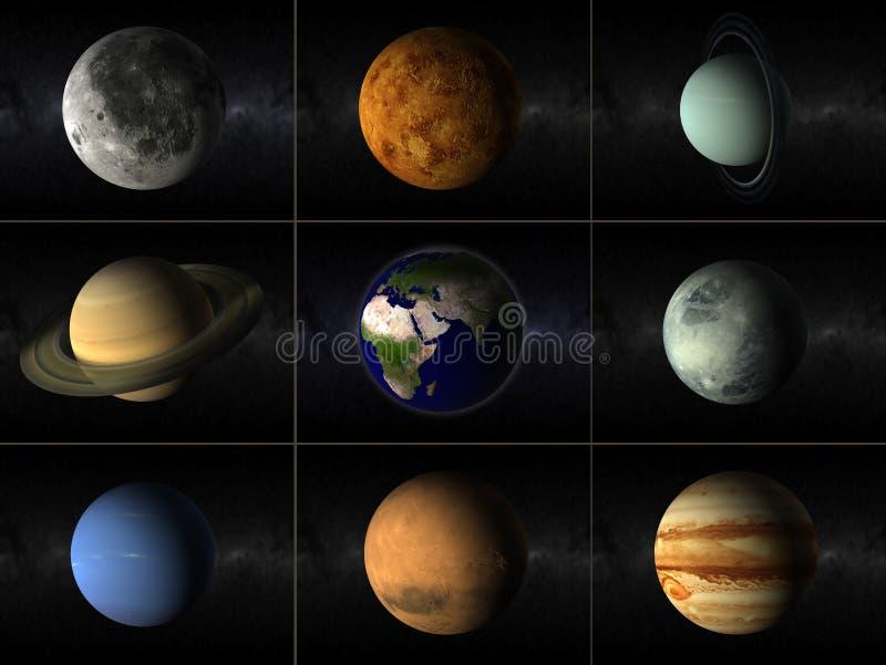 De collage van planeten stock illustratie