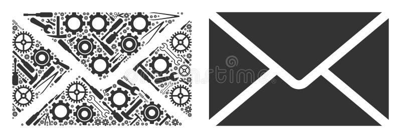De Collage van de postenvelop van Reparatiehulpmiddelen stock illustratie