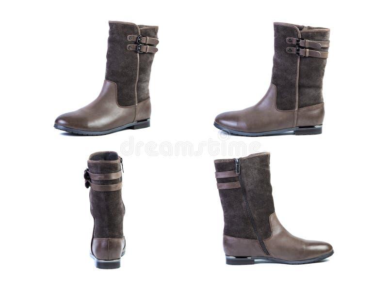De collage van schoenen springt bruine laarzen voor vrouwenschoenen op op een witte achtergrond, online winkel stock foto's