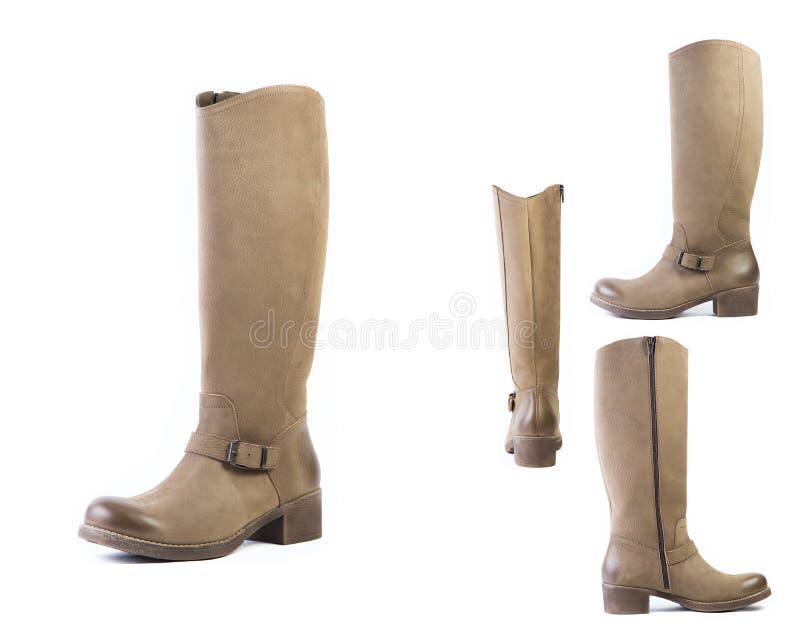 De collage van schoenen springt bruine laarzen voor vrouwenschoenen op op een witte achtergrond, online winkel stock afbeelding