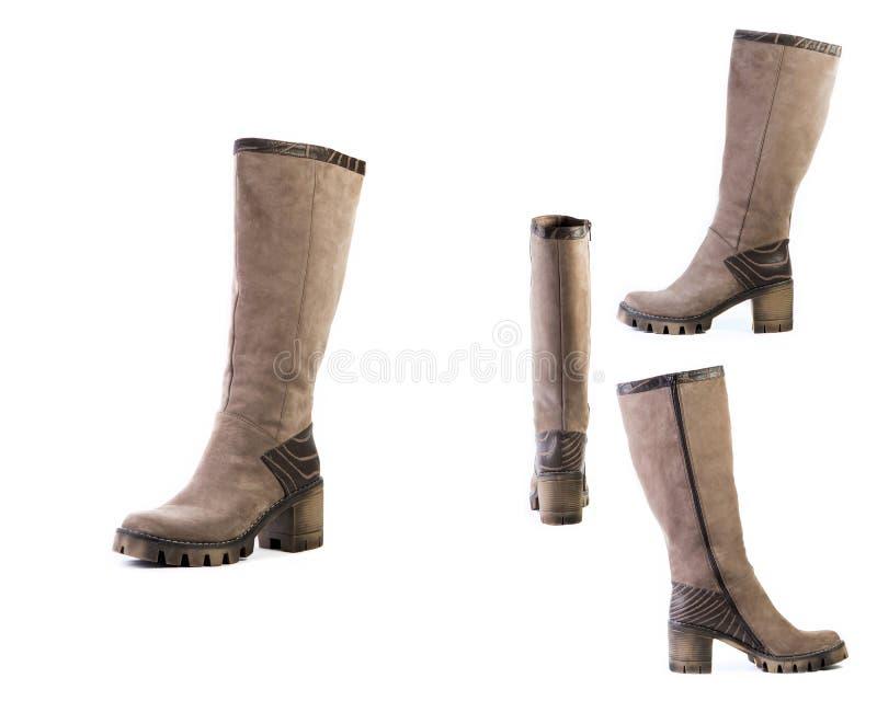 De collage van schoenen springt bruine laarzen voor vrouwenschoenen op op een witte achtergrond, online winkel royalty-vrije stock fotografie
